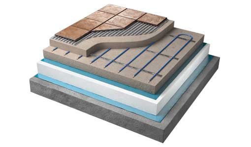 underfloor heating inscreed cutaway diagram