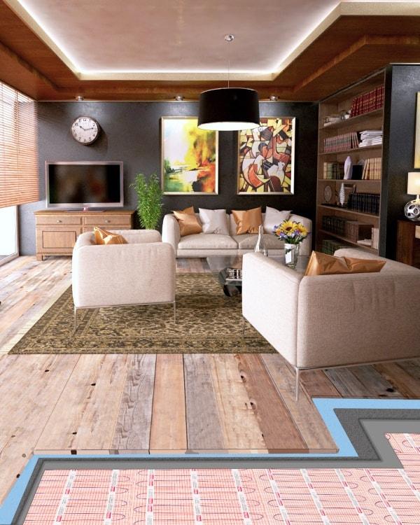 vloerverwarming onder laminaat en houten vloer