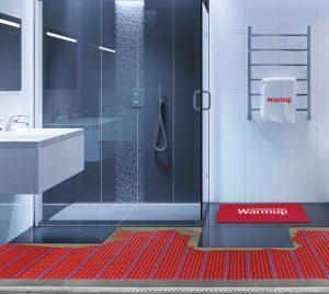 Vloerverwarming in douches en natte ruimtes